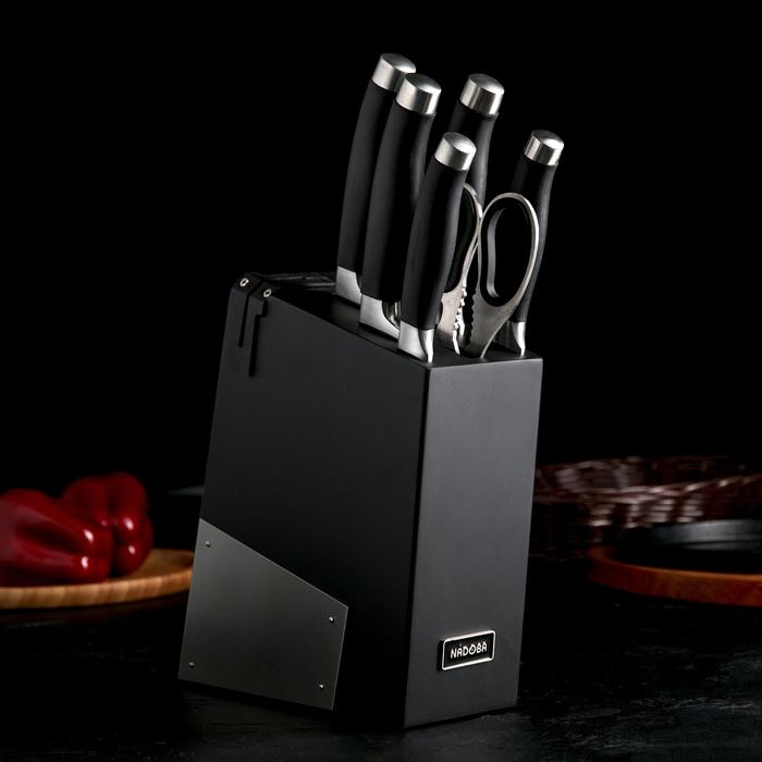Набор кухонный Nadoba Rut, 6 предметов: 5 ножей лезвия 10 см, 12,5 см, 20 см, 20 см, 20 см, ножницы, универсальный блок с ножеточкой