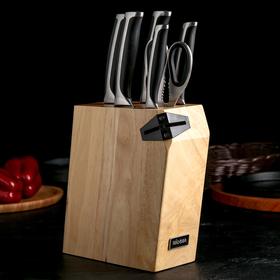 Набор кухонный Nadoba Ursa, 6 предметов: 5 ножей 10 см, 14 см, 17,5 см, 20 см, 20 см, ножницы, универсальный блок с ножеточкой, цвет чёрный