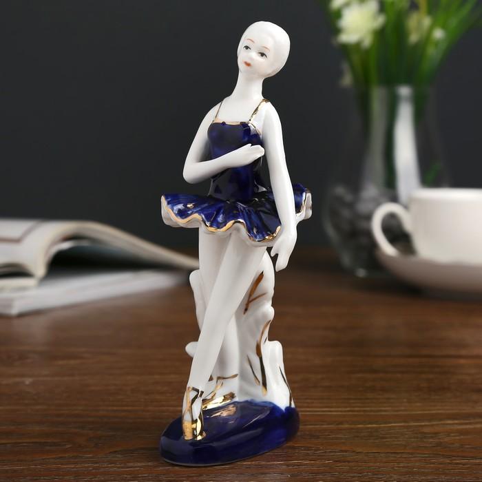 "Сувенир керамика ""Балерина у станка"" кобальт 16,5х7х7,5 см - фото 798253797"