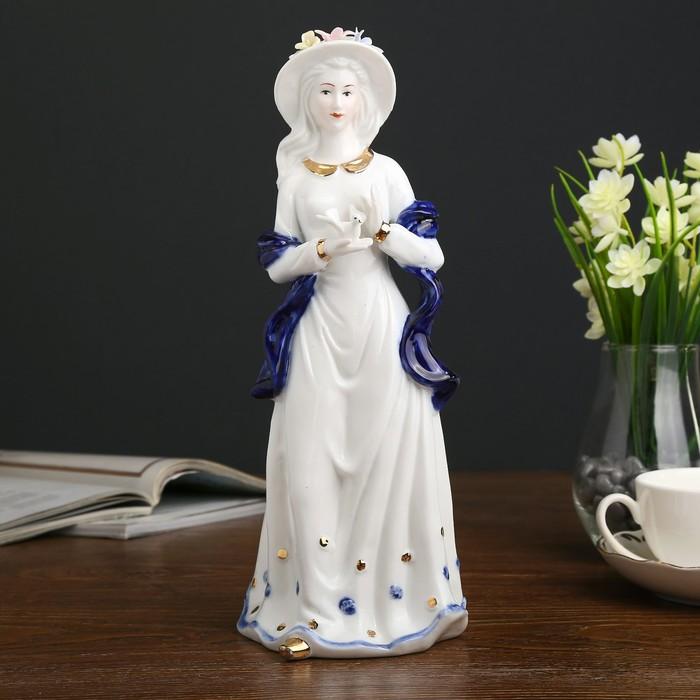 Сувенир керамика  Девушка с голубем в руках  кобальт 31х10,5х12 см