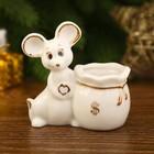 """Сувенир керамика подставка """"Беленький мышонок с мешком"""" с золотом 6,4х6х3,3 см"""