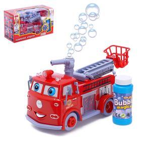 Машина «Пожарная служба» с мыльными пузырями, световые и звуковые эффекты, работает от батареек