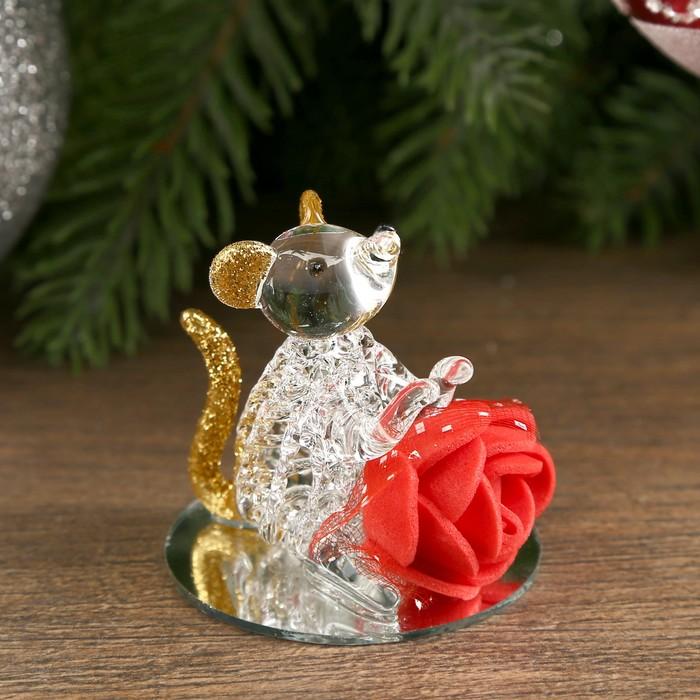 "Сувенир стекло на зеркале ""Мышка с розой"" МИКС 4,2х4х4 см"