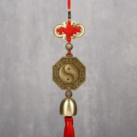 """Колокольчик металл """"Монета Инь-ян"""" 1 колокол d=2,5 см 35х5,3х2,7 см"""