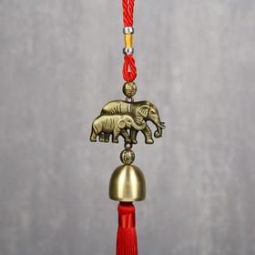 """Колокольчик металл """"Слон и слонёнок"""" 1 колокол d=2,5 см 35х5,5х2,7 см"""