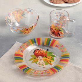 Набор посуды детский «Король Лев», 3 предмета: кружка 250 мл, салатник d=12,7 см, микс d=19,6 см
