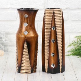 "Ваза керамика ""Белла"" 10х30 см, коричневый, микс"