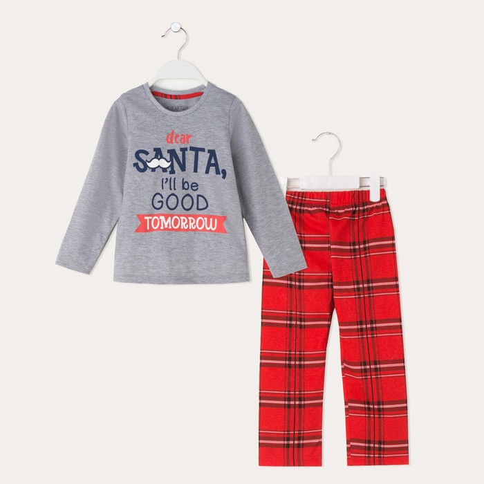 "Пижама для мальчика KAFTAN ""Happy family"" р.32 (110-116), красный/серый"