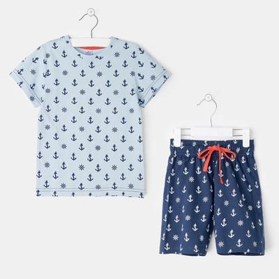 Пижама для мальчиа А.11259, цвет голубой/якоря, рост 104