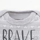 "Боди Крошка Я ""Little bear. Brave"", серый, р.24, рост 68-74 - фото 105479075"