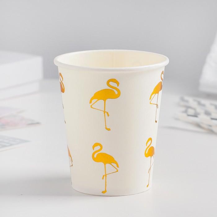 Стакан бумажный «Фламинго», набор 6 шт., цвет золотой
