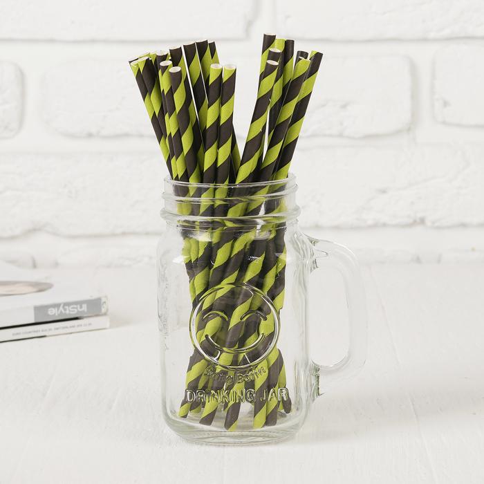 """Трубочки для коктейля """"Спираль"""" набор 25 шт, цвет чёрный светло-зелёныйй"""