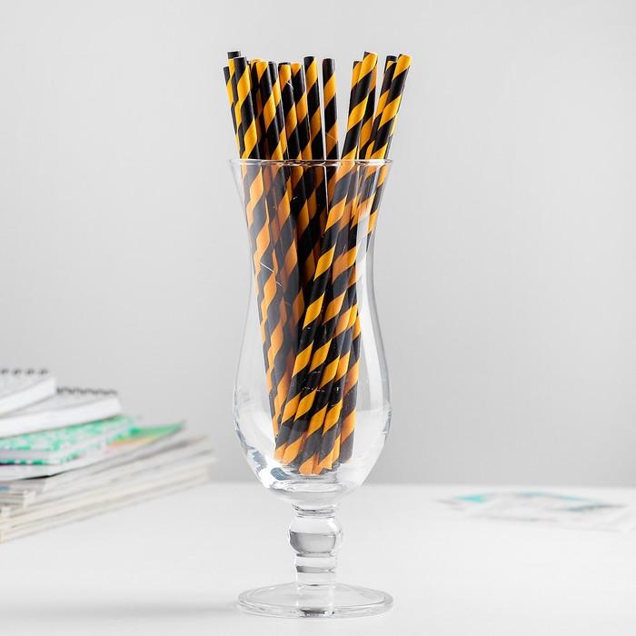 """Трубочки для коктейля """"Спираль"""" набор 25 шт, цвет чёрный-светло - оранжевый"""