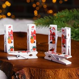 """Clothespin Christmas """"Santa Claus"""" (set of 6 PCs)"""
