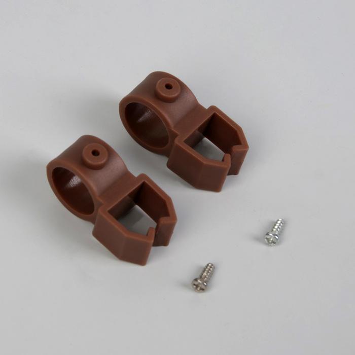 Держатели шины, 4 × 2,4 × 2 см, d = 1,6 см, 2 шт, цвет коричневый