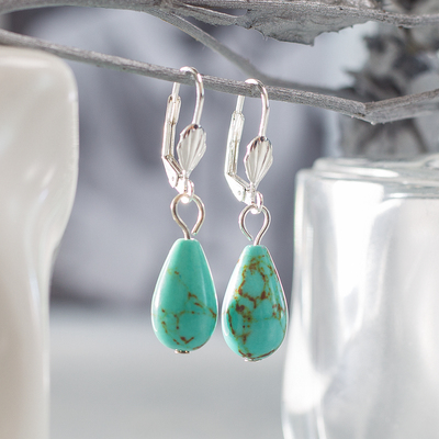 """Earrings silver plated """"Turquoise of the old"""" drop"""
