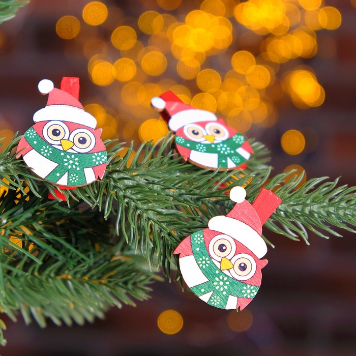 Прищепки новогодние «Совы», (набор 3 шт) - фото 419588