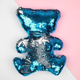 """Soft toy """"Bear"""" blue sequins-silver"""