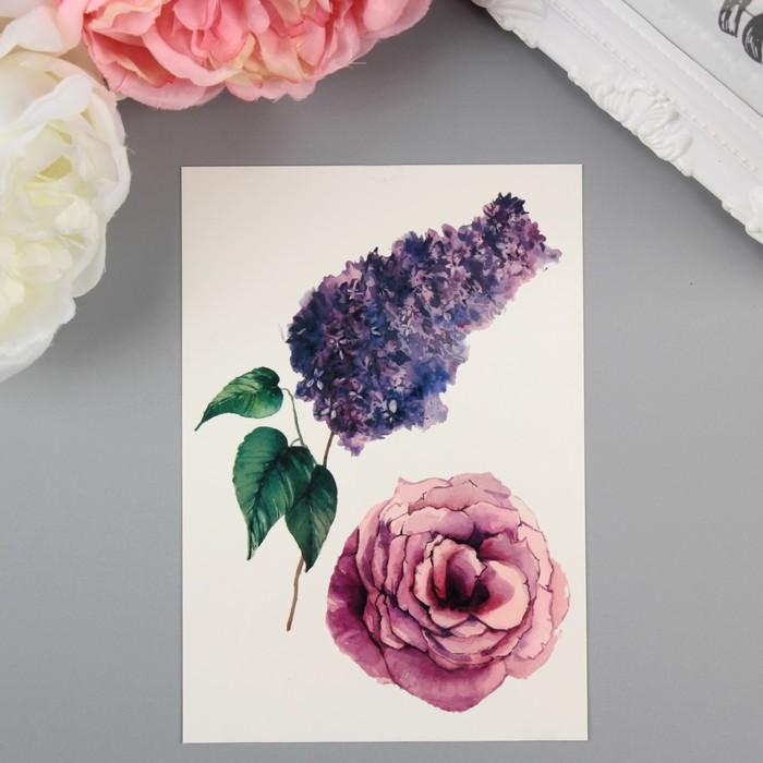 "Татуировка на тело ""Miami Tattoos  Lilac & Rose"""