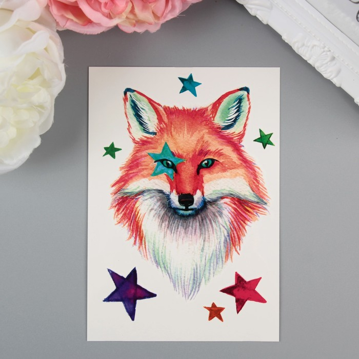 "Татуировка на тело акварельная ""Miami Tattoos Fox"""