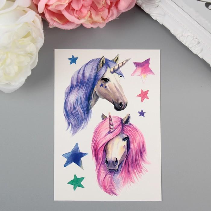 "Татуировка на тело акварельная ""Miami Tattoos Unicorns"""