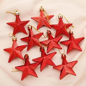 A set of jewelry, plastic 6 cm 10 PCs star relief red