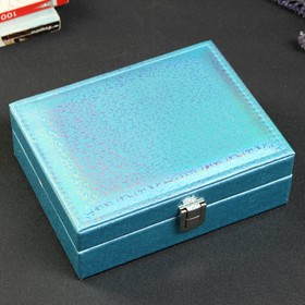 """Box leatherette for jewelry """"Swirls"""" blue holography 6,upon a time 3x13,5x17,5 cm"""