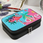 """Box leatherette for jewelry """"Flamingo and palm tree"""" with sequins 6,5х21х14 cm"""