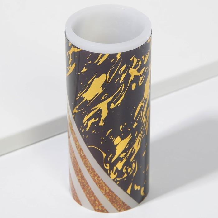 Свеча светодиодная восковая «Чёрное с золотом»