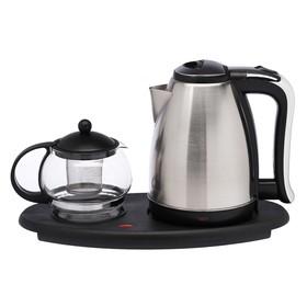 Набор чайный LuazON LSK-1808, металл, 1.8/0.75 л, 1500 Вт, серебристый