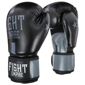 Перчатки боксёрские соревновательные FIGHT EMPIRE, 10 унций, цвет чёрный/серый