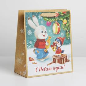Пакет крафтовый вертикальный «С Новым годом!», ML 23 × 27 × 8 см