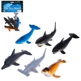 Set of marine animals Underwater world, 6 figures