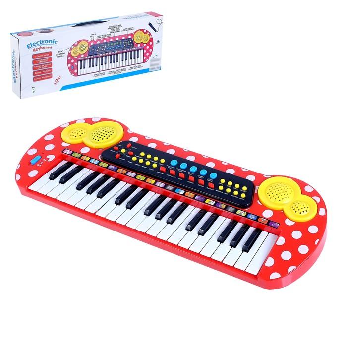 Синтезатор «В горошек», 37 клавиш, с микрофоном
