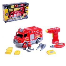 Конструктор винтовой «Пожарная машина», с электрическим шуроповёртом