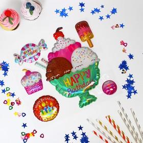 Наклейки на воздушные шары «С днём рождения», сладости
