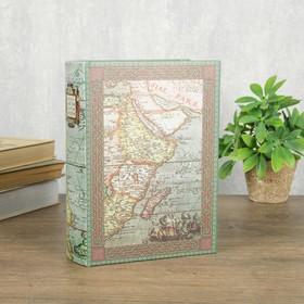 """Шкатулка-книга дерево кожзам """"Карта старого путешественника"""" 23х17х6 см"""