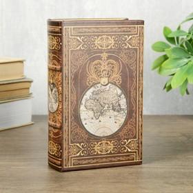 """Сейф-книга дерево кожзам """"Этот огромный мир"""" 17х11х5 см"""