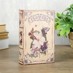 "Сейф-книга дерево кожзам ""Ретро. Бабочки и цветы"" 17х11х5 см"