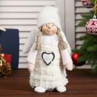"""Кукла интерьерная """"Ангелочек Марфуша в белом платье с сердечком"""" 34х9х12 см"""