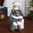"""Кукла интерьерная """"Малышка в сером наряде с помпонами"""" 50х10х13 см"""