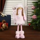 """Кукла интерьерная """"Ангелочек в розовой шубке и колпаке"""" 45х8х15 см"""