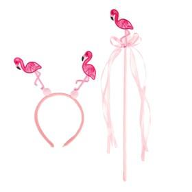 """Carnival set """"Flamingos"""" 2 piece: headband, wand"""