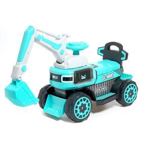 Детский электромобиль «Экскаватор», привод ковша ручной, световые и звуковые эффекты, цвет голубой в Донецке