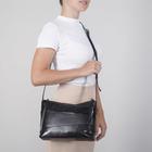 Сумка женская, 2 отдела на молнии, наружный карман, цвет чёрный