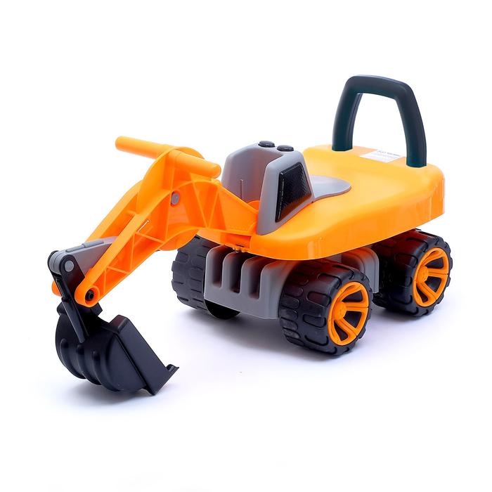 Толокар «Экскаватор», подвижный ковш, световые и звуковые эффекты, цвет оранжевый