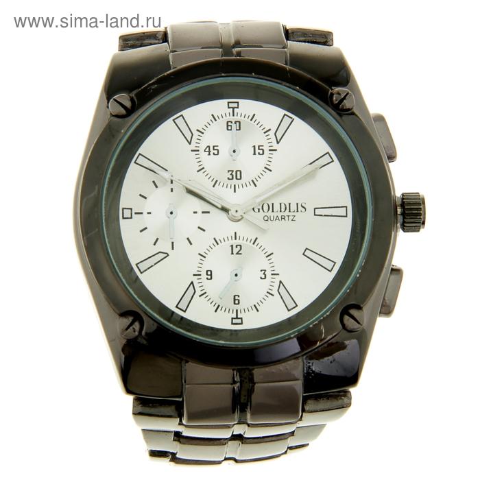 Часы наручные мужские GOLDLIS, белый циферблат, черный браслет, имитация хронографа