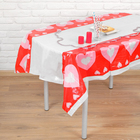 "Tablecloth ""Hearts on the red"" 108х180 cm"