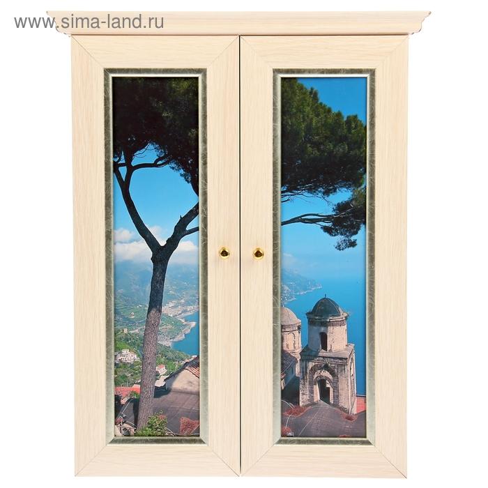 """Ключница """"Вид на Грецию из окна"""" выбеленный дуб"""