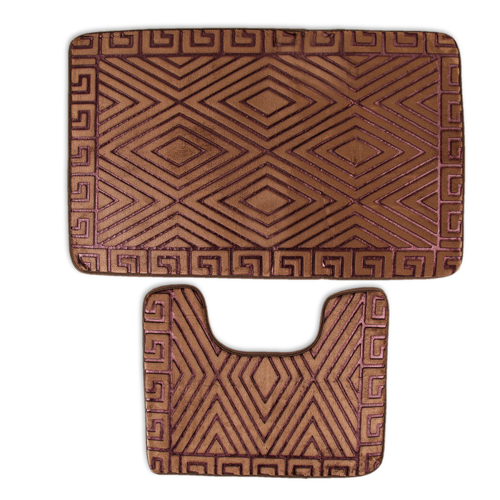 Набор ковриков для ванны и туалета «Ромбы», 2 шт: 38×50, 50×80 см, цвет коричневый - фото 308318523
